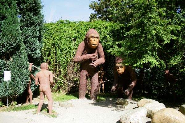 Реконструкция охоты древнего человека на не менее древнего гигантопода. Видимо у обезьяны было хорошее и питательное мясо